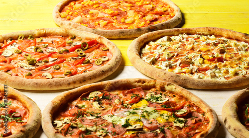 Deurstickers Pizzeria Fast food restaurant concept. Take away food with various ingredients