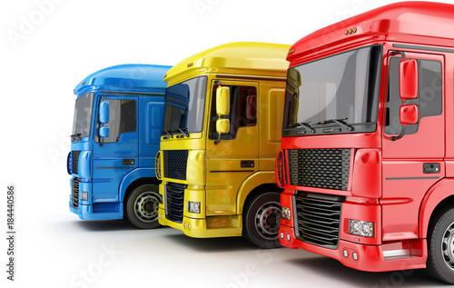 Fototapeta Three colored big truck