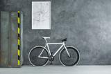 White bicycle in dark room - 184440953