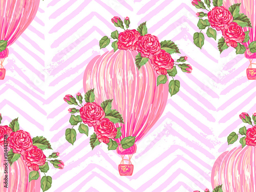 Seamless pattern with hot air balloon, rose flower vector background. Perfect for wallpaper, pattern fill, web page background, surface textures, textile - 184443748