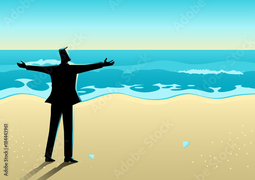 Businessman open his arms at the beach