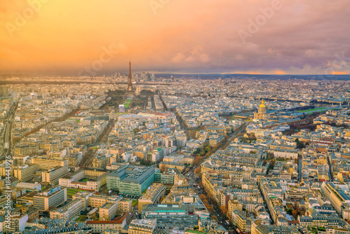 Skyline of Paris with Eiffel Tower at sunset in France Poster