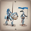 Medieval warriors with horse icon vector illustratio ngraphic design - 184446948