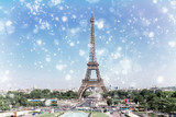 Eiffel Tower and Paris skyline at winter day, France