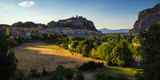 Durance Valley, Sisteron and the Citadel at sunset in Summer. Alpes-de-Hautes Provence, France - 184449747
