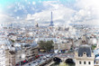 skyline of Paris city with blue sky at winter, France