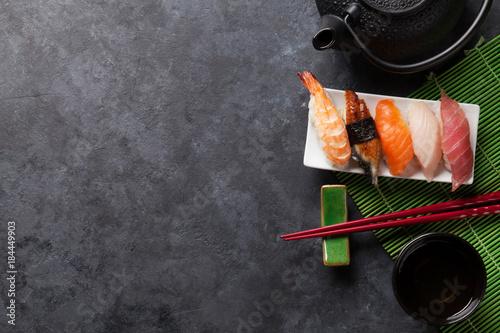 Tuinposter Sushi bar Set of sushi and green tea