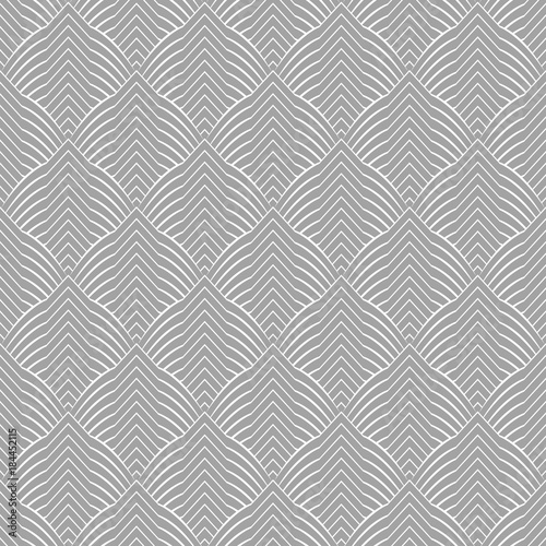 Abstract geometric pattern with stripes, lines. A seamless vector background. Grey and white texture. - 184452115