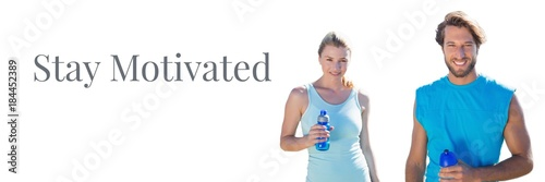 Plexiglas Fitness Stay motivated text and fitness couple