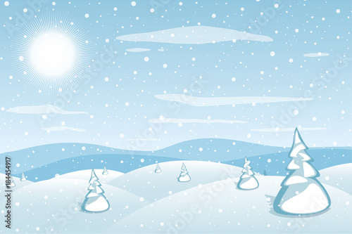 Fotobehang Lichtblauw Winter landscape background. Blue mountains snowy hills and pines on foreground. Frosty snowy day. Christmas and New Year wallpaper. Vector illustration