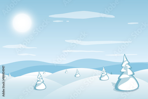 Deurstickers Lichtblauw Winter landscape background. Blue mountains snowy hills and pines on foreground. Frosty sunny day. Christmas and New Year wallpaper. Vector illustration