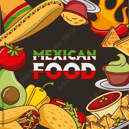 Plexiglas Vintage Poster mexican food card differents ingredients menu vector illustration