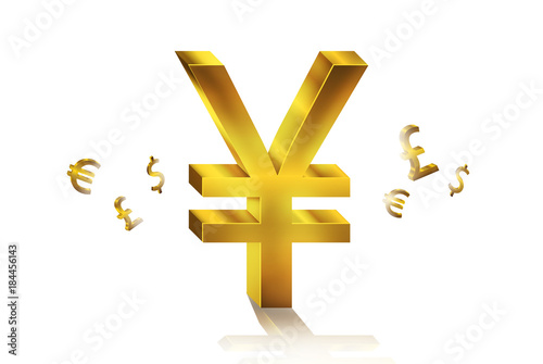 Golden Currency Symbols Forex Trading Concept