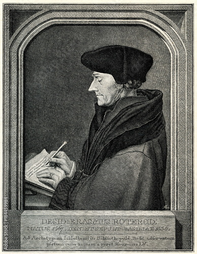 Poster Rotterdam Portrait of Erasmus of Rotterdam, Dutch Renaissance humanist, Hans Holbein the Younger, 1523 (from Spamers Illustrierte Weltgeschichte, 1894, 5[1], 175)