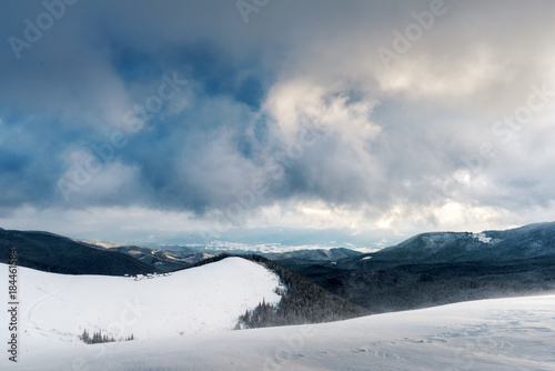 Fotobehang Winter Fantastic landscape with snowy mountains, trees and house. Carpathian mountains, Ukraine, Europe