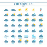 Flat Light Weather Icons For Mobile And Web Design - 184466538