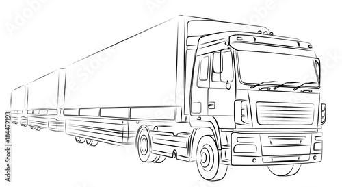 Tapeta Набросок длинного грузовика.