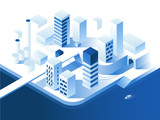 Smart city technology. Simple low poly architecture. 3d vector isometric illustration.