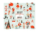 Hand drawn vector abstract Merry Christmas and Happy New Year time big cartoon illustrations collection set design elements with Santa Claus,people,xmas tree and dog isolated on white background - 184479371