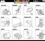 main colors educational worksheet for coloring - 184479392