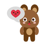 Cute bear with heart into speech bubble - 184484956