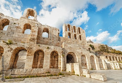 Staande foto Athene Greece, Athens. Facade of ancient greek theater Facade Odeon of Herodus Atticus. Iconic landmark and famous travel destination in Greece.