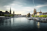 Zurich city center with famous Fraumunster, Grossmunster and St. Peter, Switzerland - 184490763