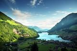 Aerial view on Lungernsee lake, Switzerland, Europe - 184490798