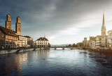 Zurich city center with famous Fraumunster, Grossmunster and St. Peter and river Limmat, Switzerland - 184490906