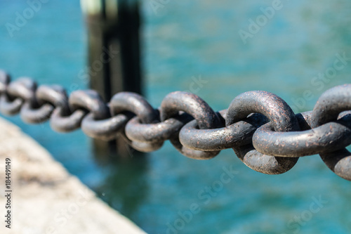 Paint Chips off Large Iron Chain Links - 184491149
