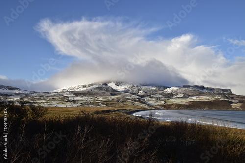 Plexiglas Zwart Brilliant cloud formation above Quiraing