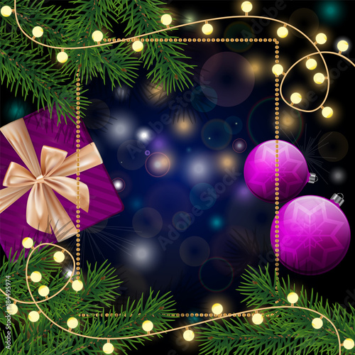 Plexiglas Vintage Poster Realistic pine branches, purple baubles, frame and snowflakes, gift box on dark blue background. Good for New Year celebration postcards, Merry Christmas banners, holidays flyers.