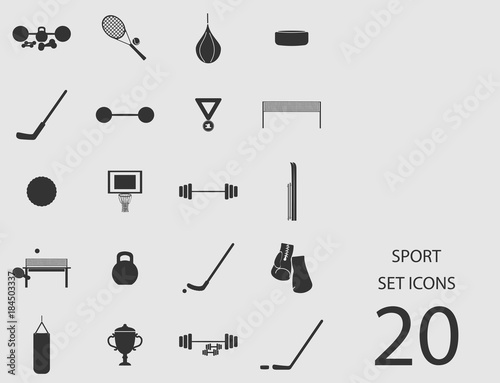 Sport set of flat icons. Vector illustration