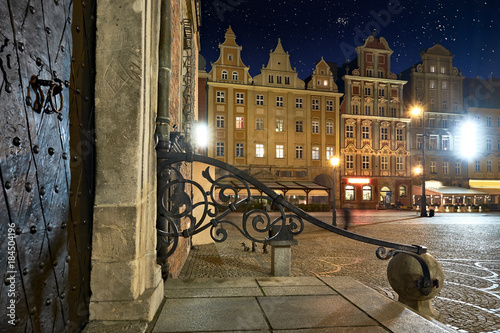Old houses on Market Square in Wroclaw at night