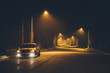 Night street in the fog. Car.
