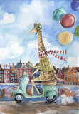 Cute giraffe driving retro scooter holding colorful balloons in one hand on european city landscape background - 184505132