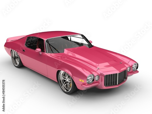 Foto op Canvas Snelle auto s Metallic pink restored vintage American car