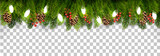 Christmas holiday decoration with branches of tree and pine and garland on transparent background. Vector. - 184505539