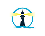 Circle Lighthouse on the Beach with Wave Water Sea Ocean Logo - 184509344