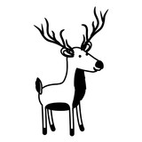 deer cartoon in black sections silhouette on white background vector illustration - 184512543