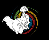 Angry Spartan warrior with Sword and shield designed on spin wheel graphic vector. - 184514939