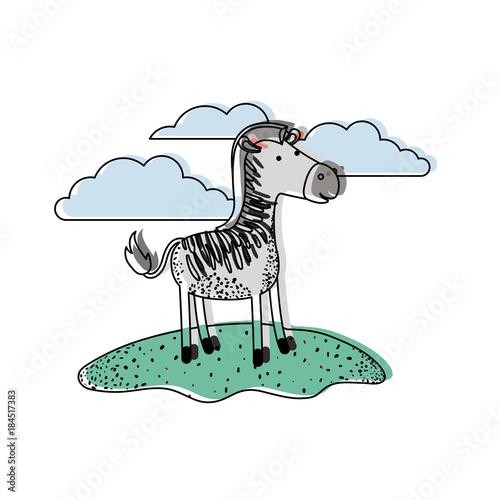 Plexiglas Zoo zebra cartoon in outdoor scene with clouds in watercolor silhouette vector illustration