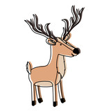 deer cartoon with long horns colorful silhouette in watercolor silhouette with thin contour vector illustration