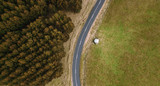 Road and field in the Tasmanian countryside - 184520959