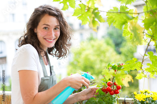 Wall mural Young woman watering tomatoes on her city balcony garden - Nature and ecology theme