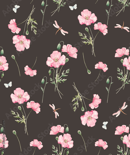Watercolor floral pattern - 184525939