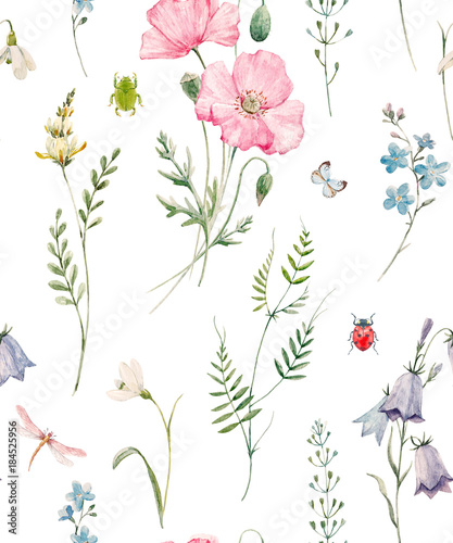 Watercolor floral pattern - 184525956