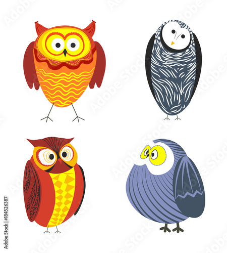 Staande foto Uilen cartoon Owls cartoon kid funny characters with feather ornament.
