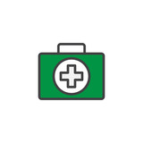 First aid kit filled outline icon, line vector sign, linear colorful pictogram isolated on white. Medical box symbol, logo illustration. Pixel perfect vector graphics - 184527182