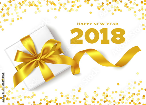 happy new year 2018decorative new year background with gift box golden bow